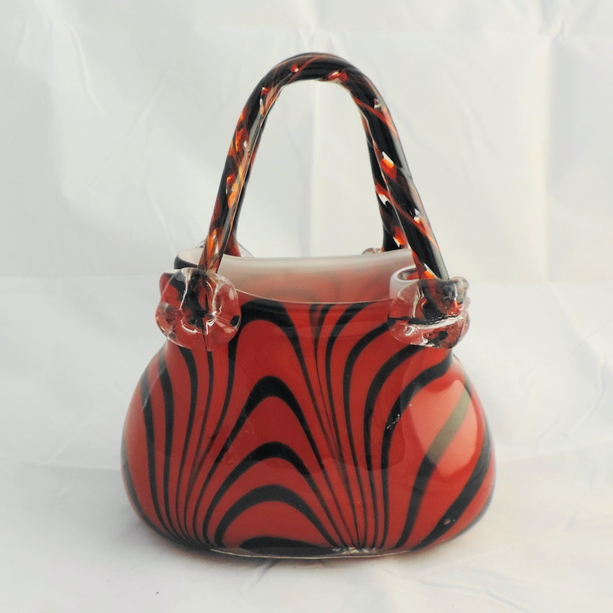 Hand Blown Glass Purse Vase Ebth