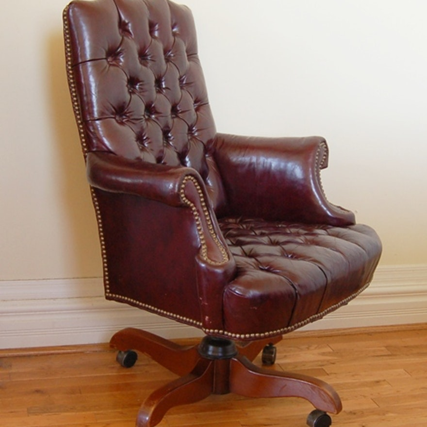 Cordovan Tufted Leather Office Chair By North Hickory Furniture