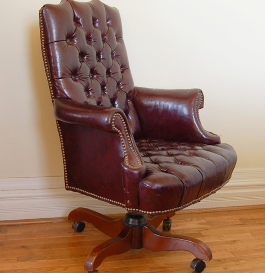 Tufted leather office chair - Cordovan Tufted Leather Office Chair By North Hickory Furniture