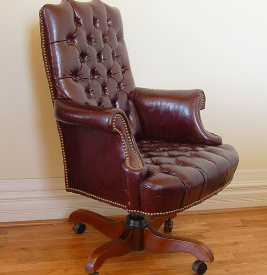 Cordovan tufted leather office chair by north hickory for H furniture ww chair