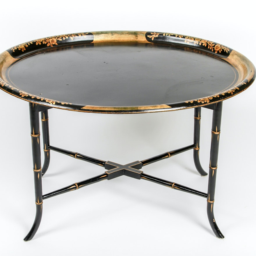Antique Painted Metal Tray Table with Faux Bamboo Legs | EBTH