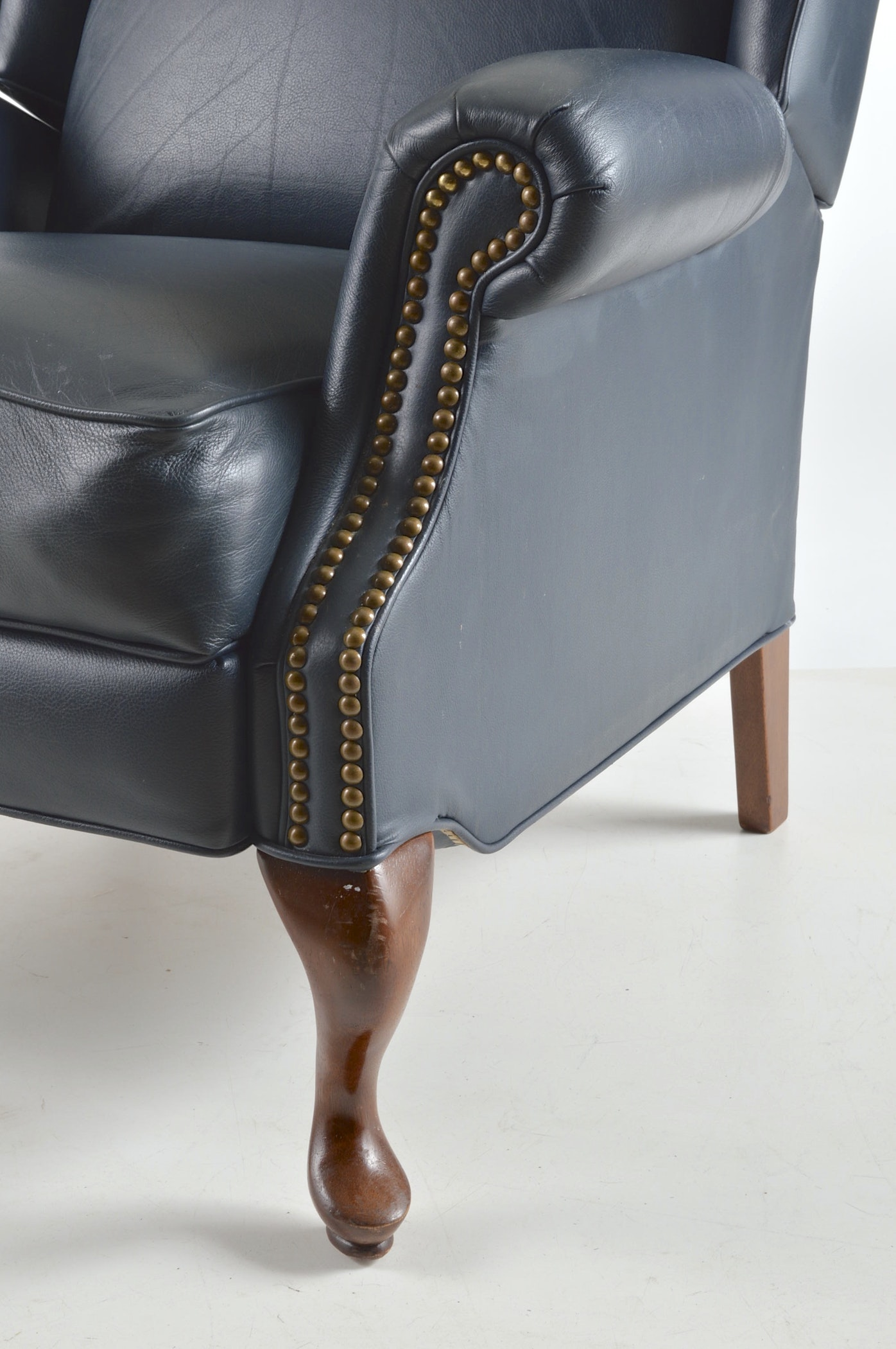 Queen Anne Style Wingback Leather Like Reclining Chair Ebth