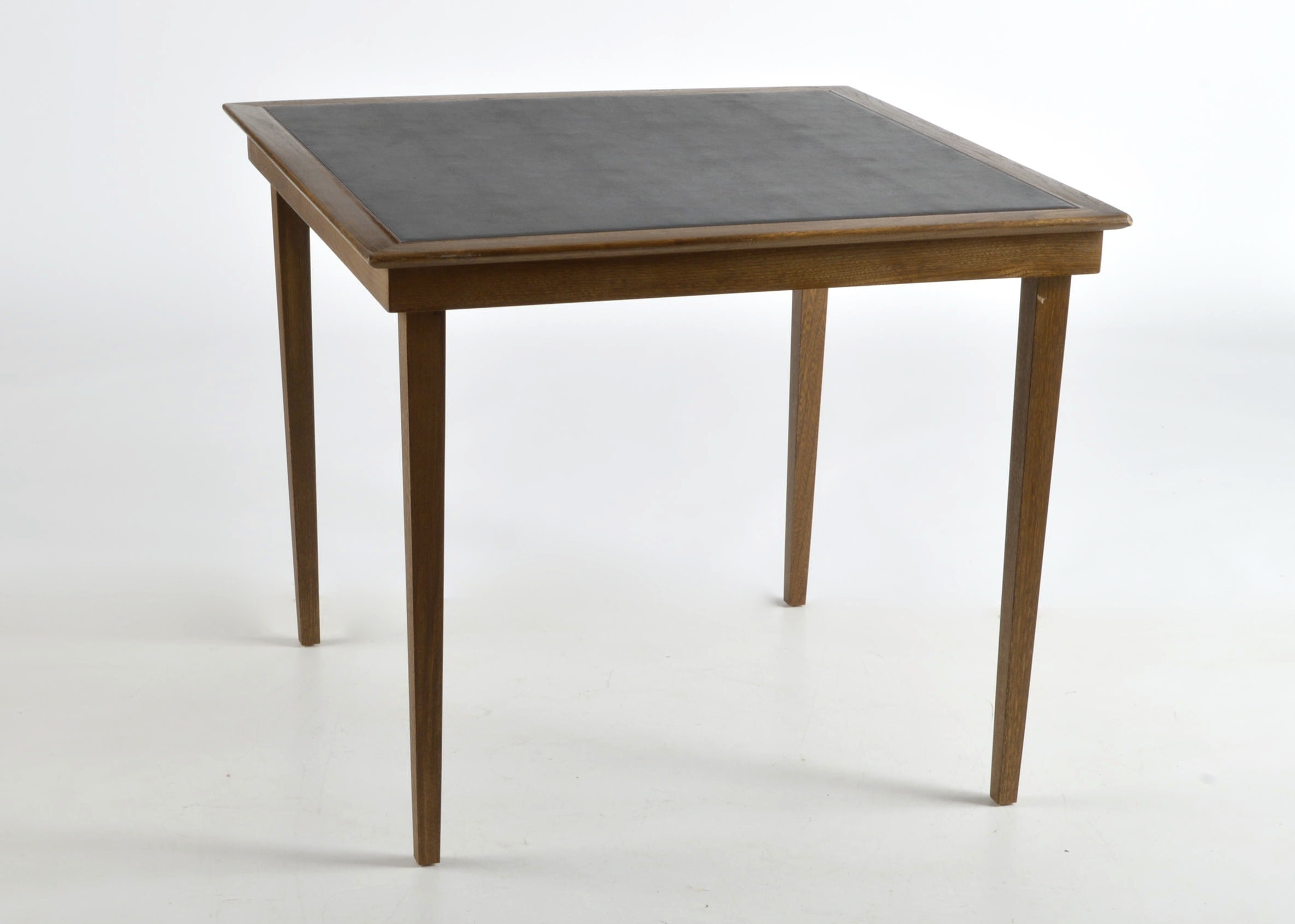 Leather Top Wooden Folding Card Table ...