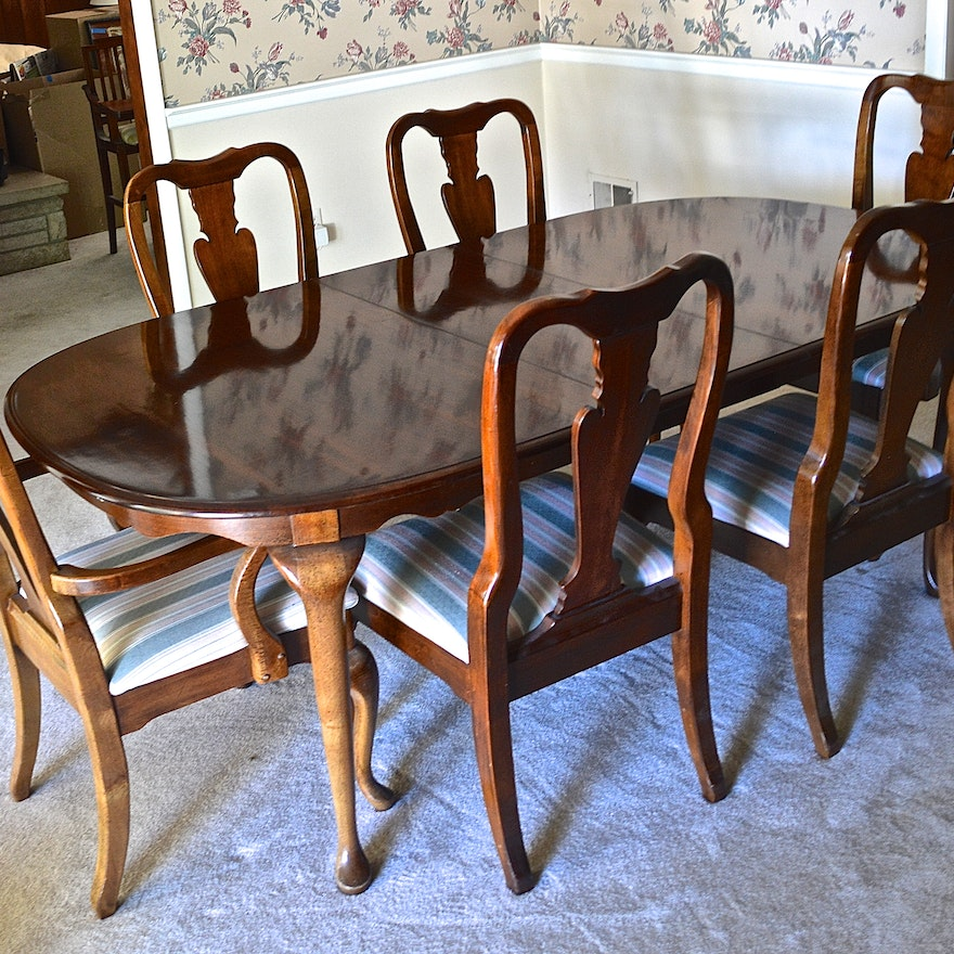 Queen Anne Style Cherry Dining Table With Six Matching Chairs