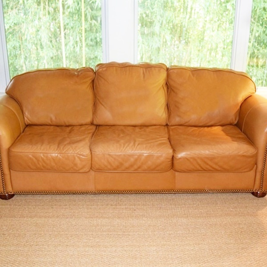 Soft Leather Sectional Sofa: A Buttery Soft Leather Sofa With Nail Head Trim