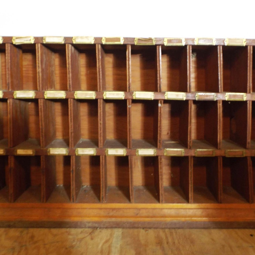 Vintage Wooden Post Office Mail Sorter Cabinet