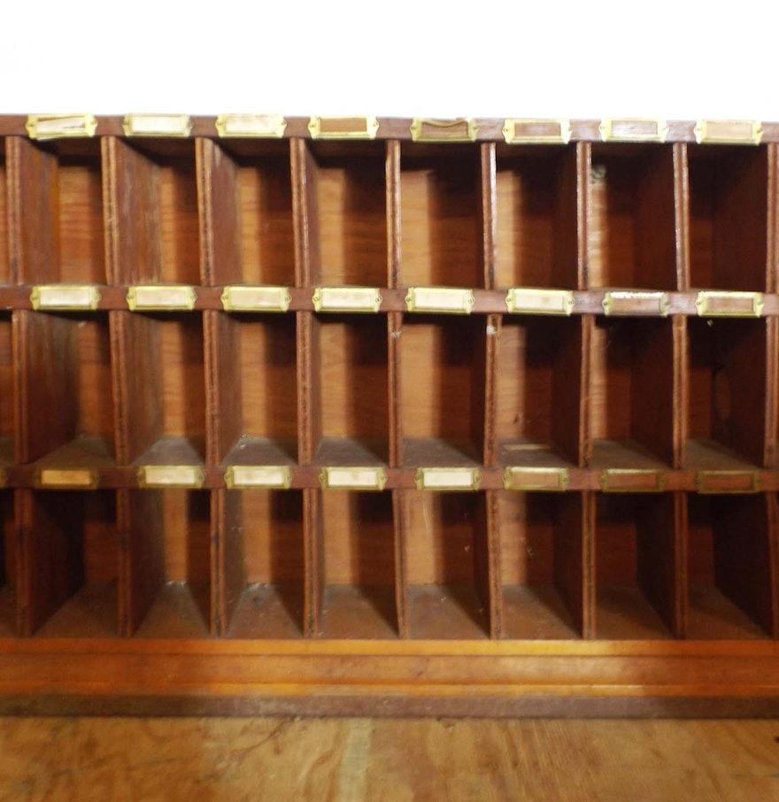Vintage Wooden Post Office Mail Sorter Cabinet Ebth