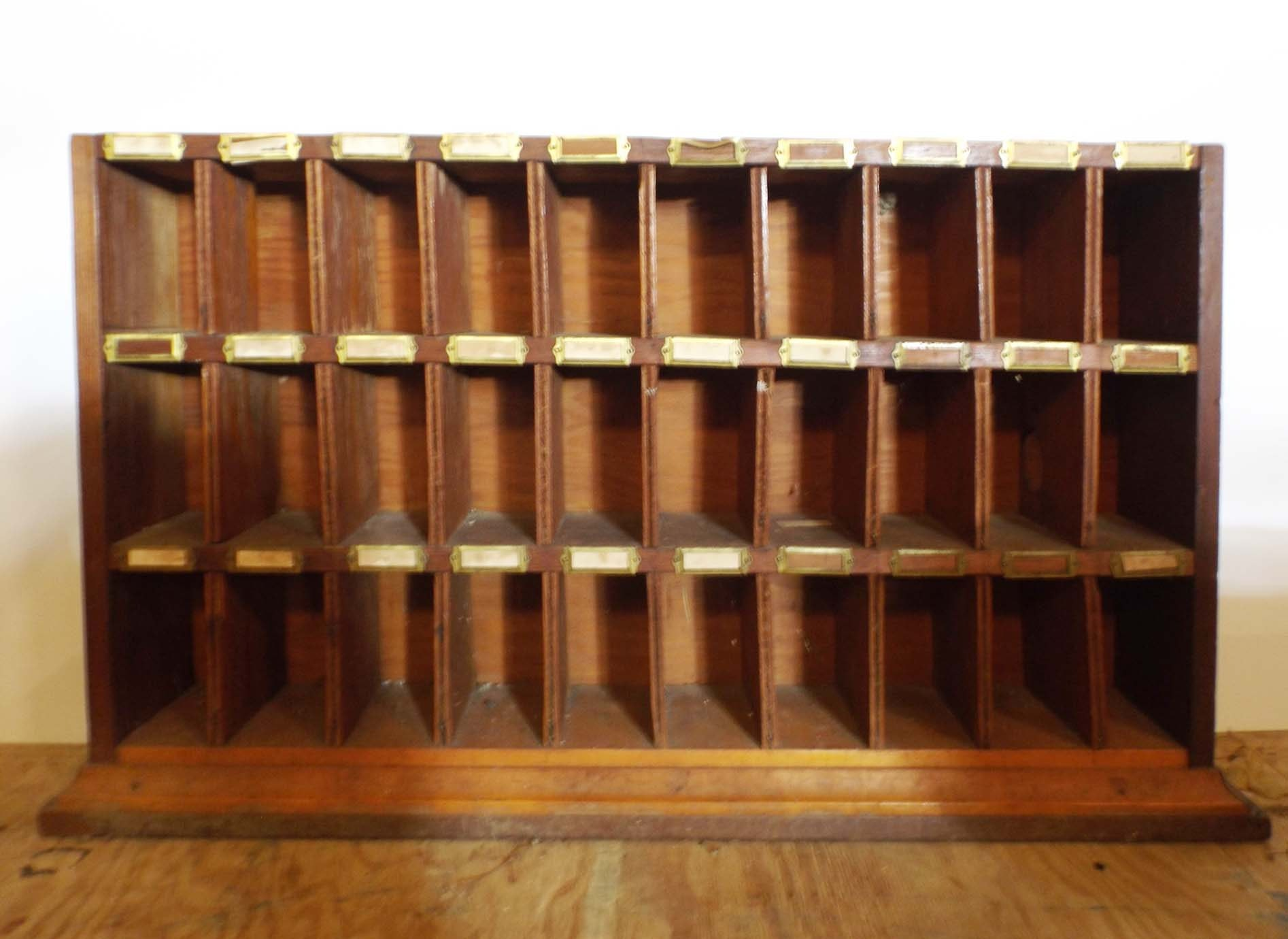 Vintage Wooden Post Office Mail Sorter Cabinet ...
