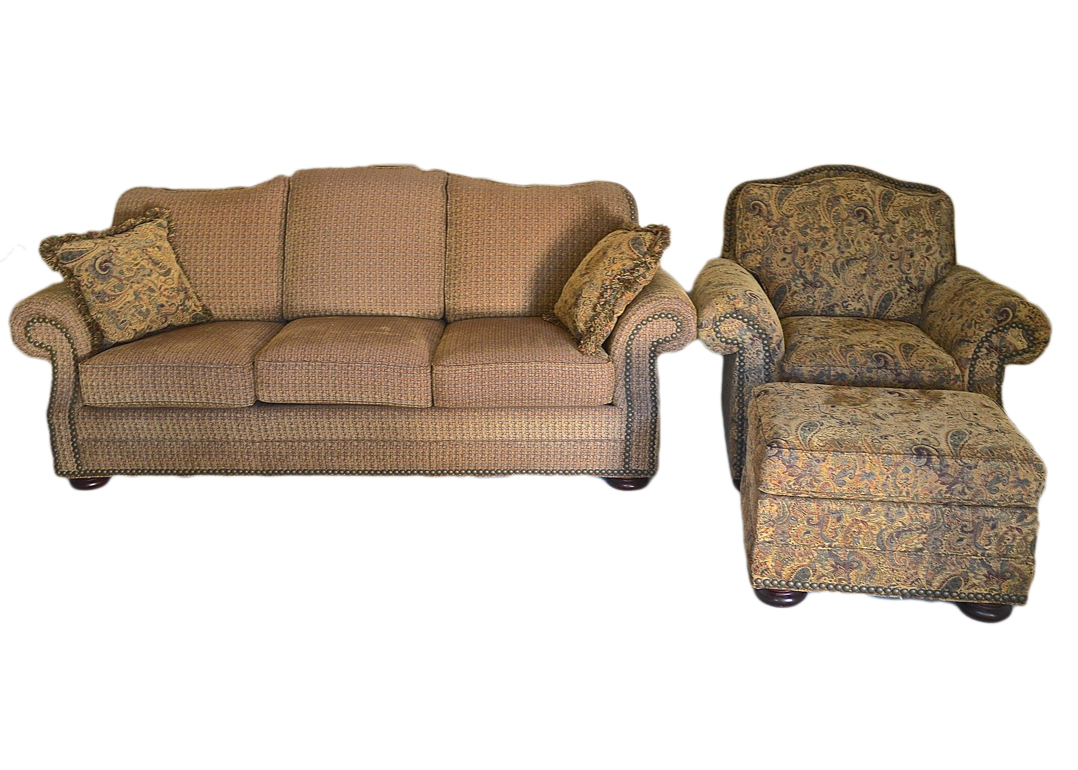 earthtoned paisley massoud sofa and armchair set
