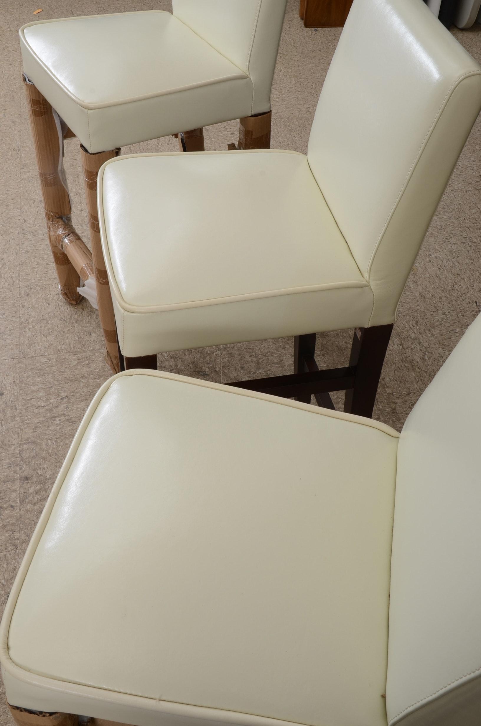 Set Of Three White Leather Bar Stools Ebth