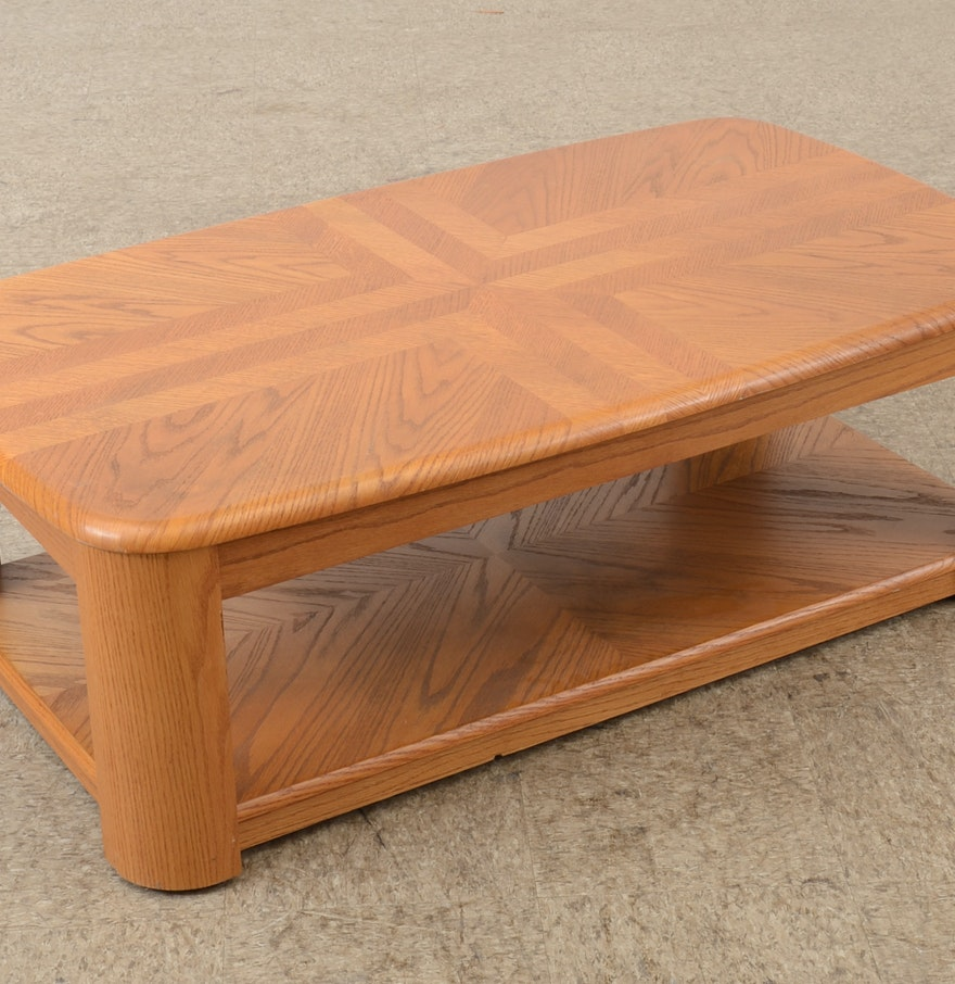 Contemporary light oak veneer coffee table ebth Light oak coffee tables