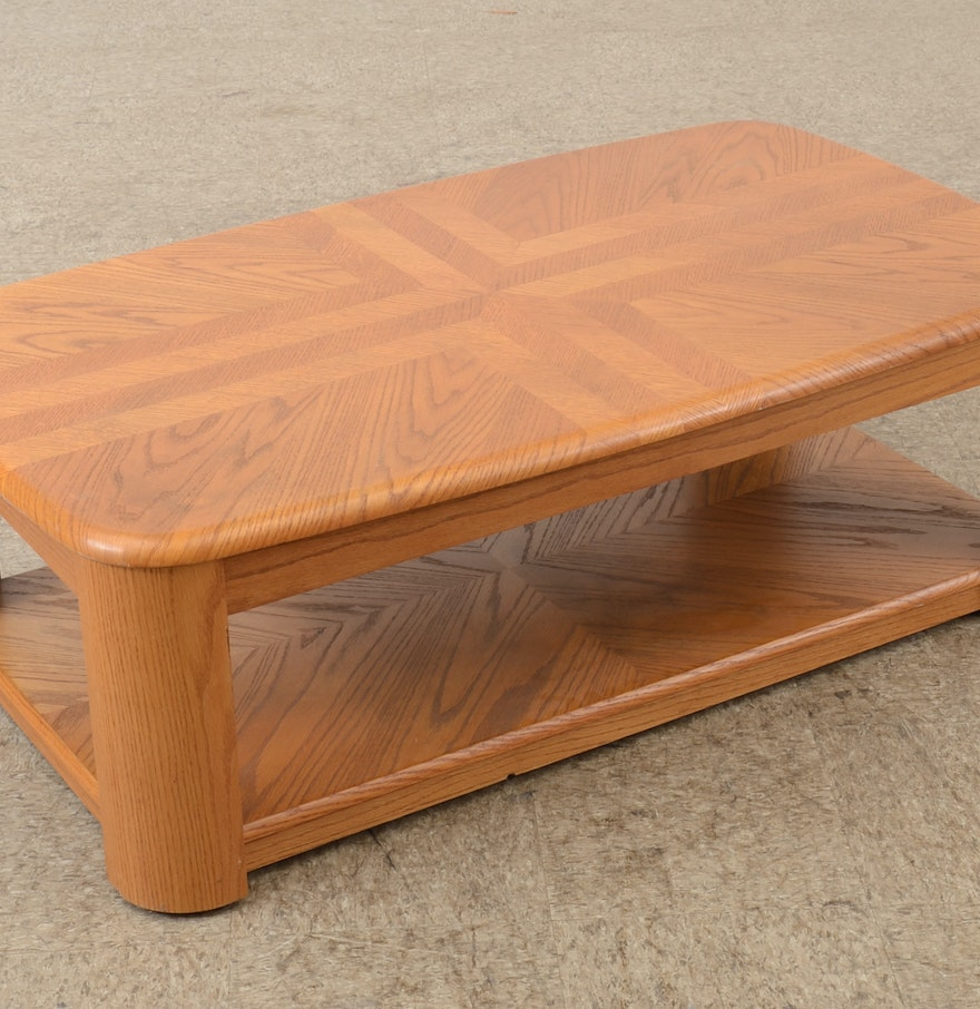 Contemporary Light Oak Veneer Coffee Table Ebth: light oak coffee tables