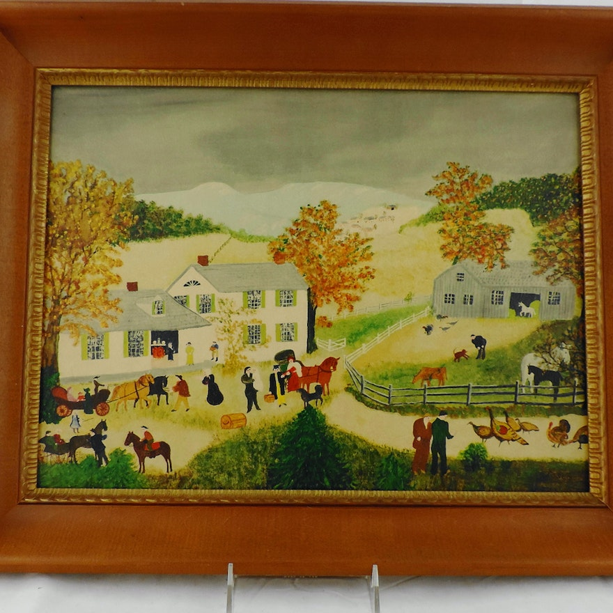 After Grandma Moses Quot Home For Thanksgiving Quot Print Ebth