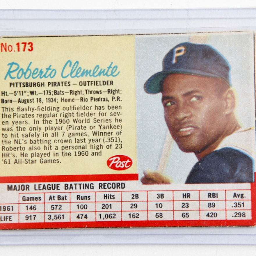 1962 Roberto Clemente Pirates Post Cereal Baseball Card