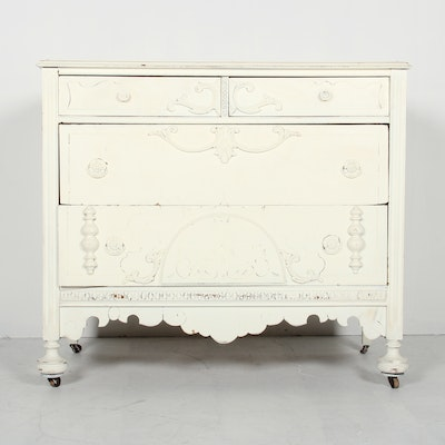 Antique Victorian White Painted Chest of Drawers - Online Furniture Auctions Vintage Furniture Auction Antique