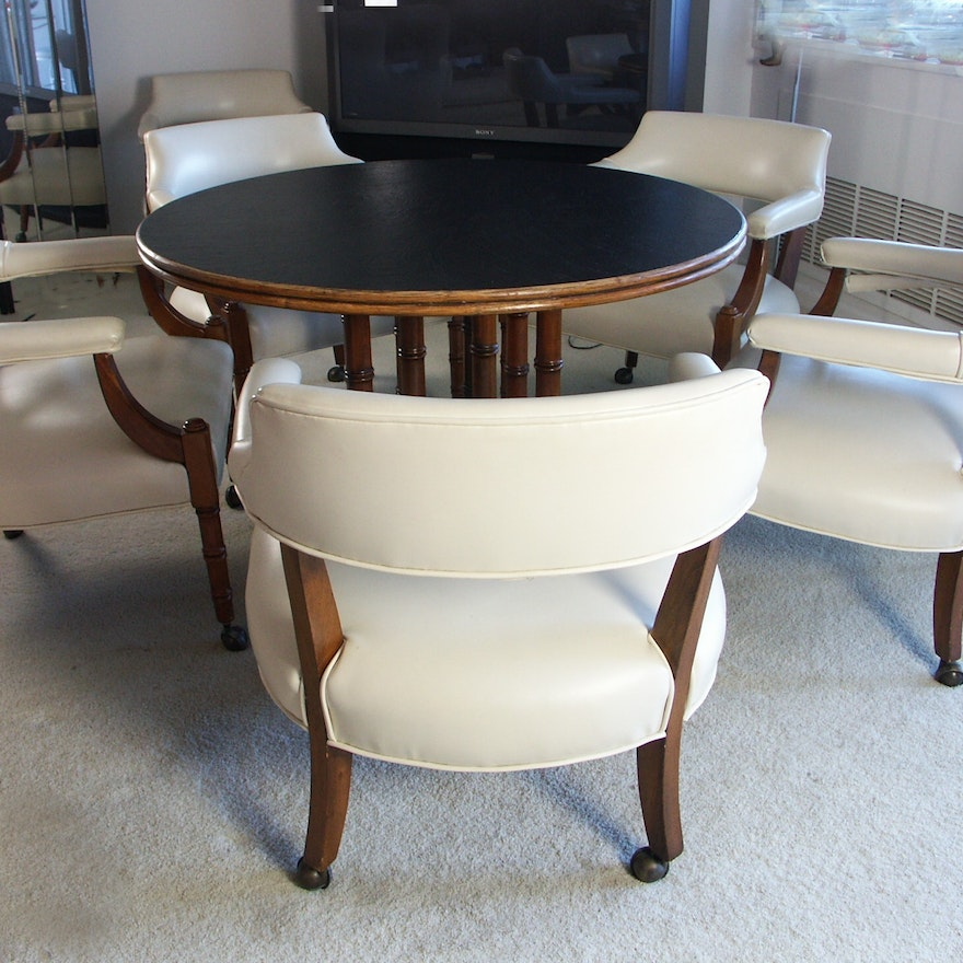Mid Century Modern Round Pub Game Table And Six Chairs Ebth