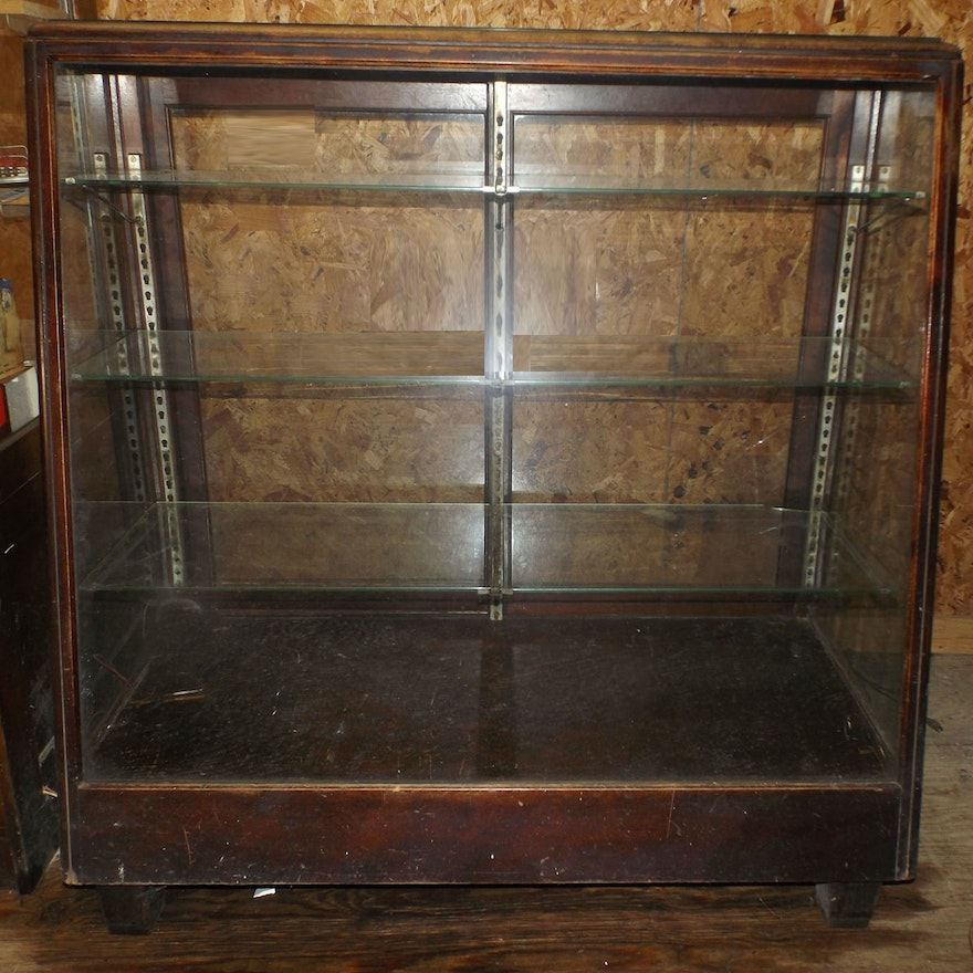 Antique Wood and Glass Store Display Cabinet ... - Antique Wood And Glass Store Display Cabinet : EBTH