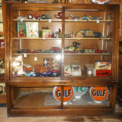 Antique Wood and Glass Store Display Cabinet - Online Furniture Auctions Vintage Furniture Auction Antique