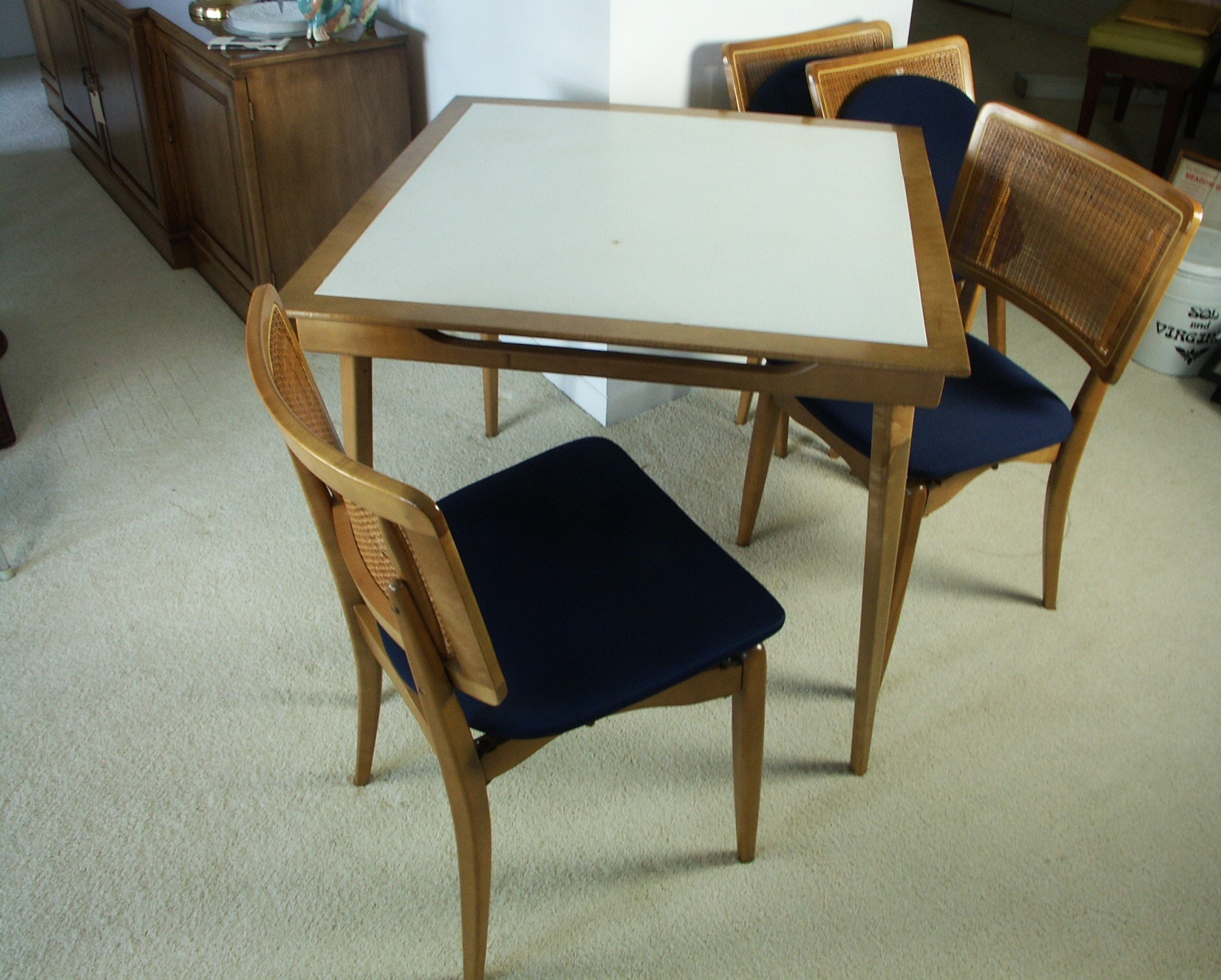 Exceptional Mid Century Modern Stakmore Folding Table And Chairs ...