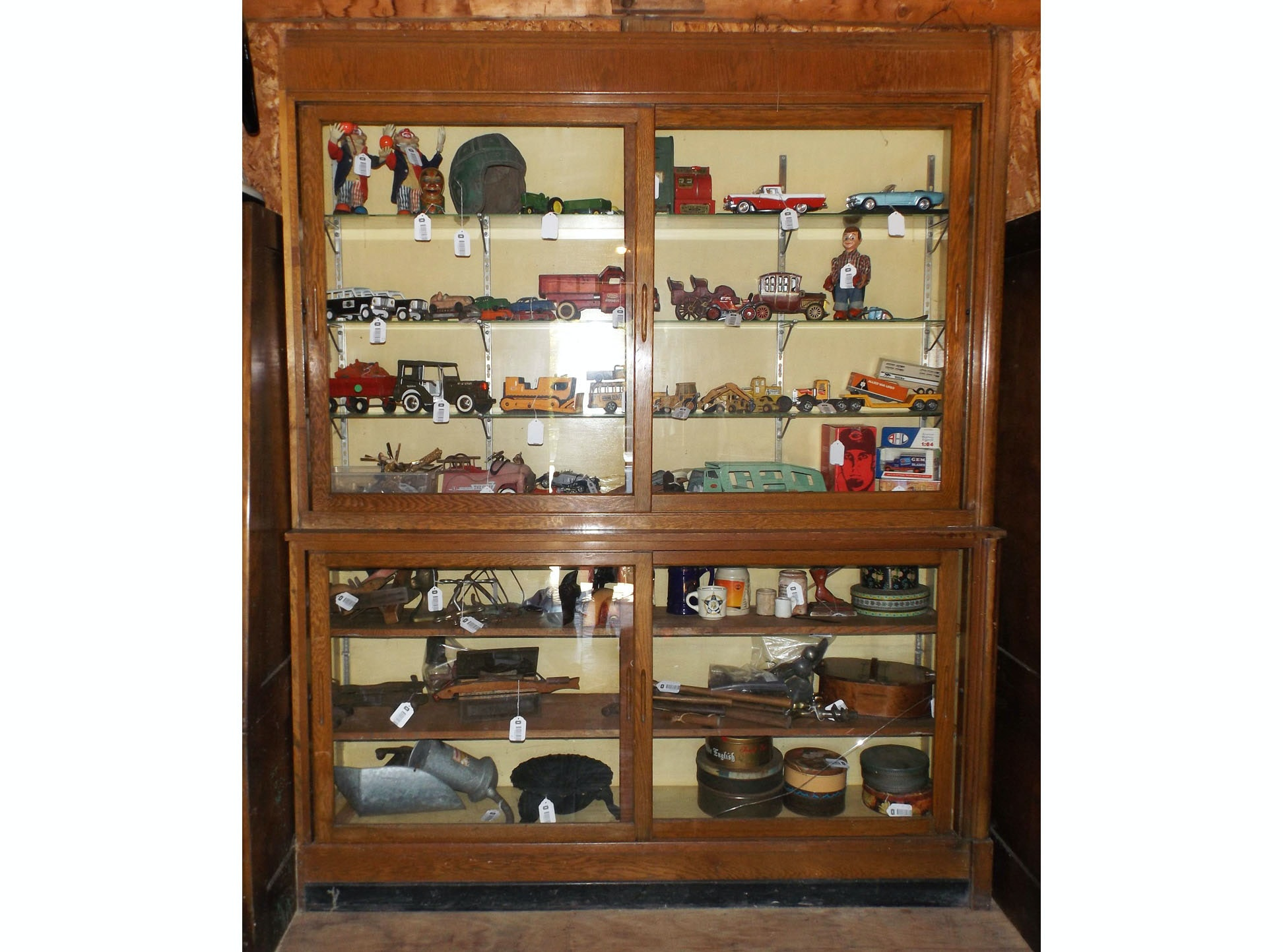 Antique Waterfall Oak and Glass Store Display Cabinet