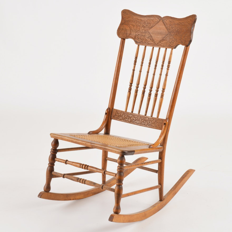 Antique Rocking Chair With Carved Crest Rail