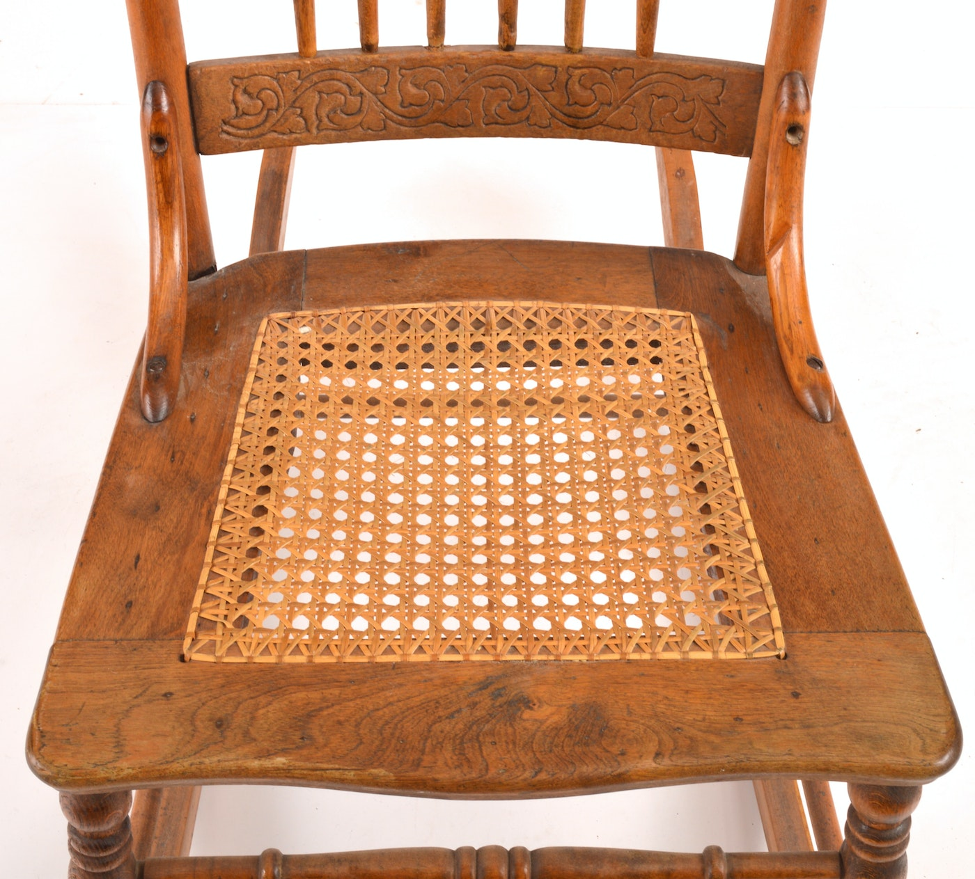 Antique Rocking Chair With Carved Crest Rail : EBTH