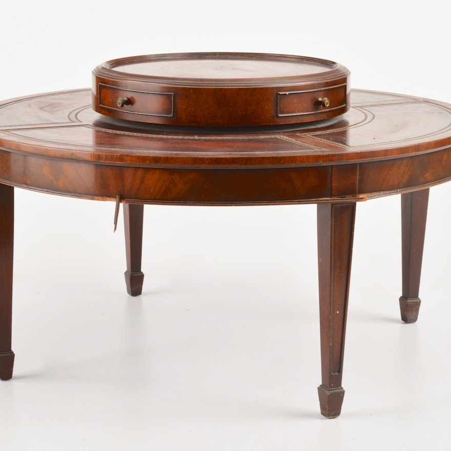 Inlaid Leather Coffee Table By Weiman Tables