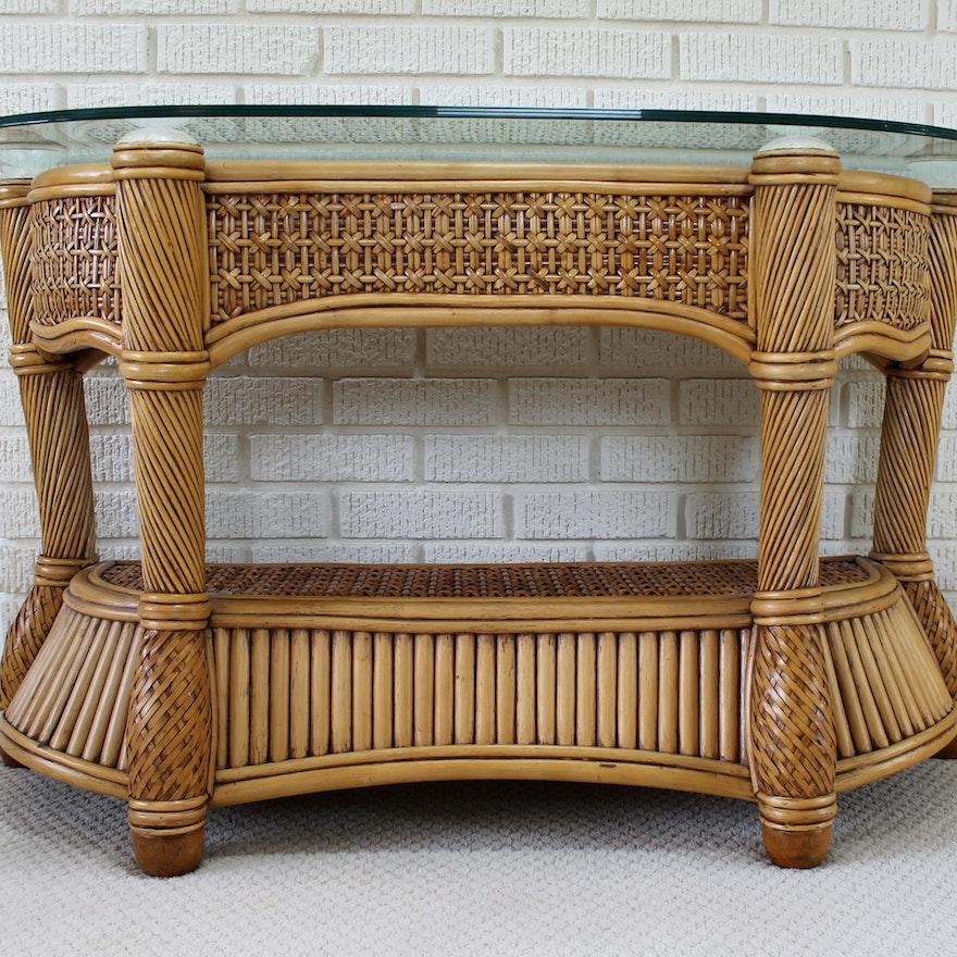 Wicker And Rattan Patio Console Sofa Table By Capri