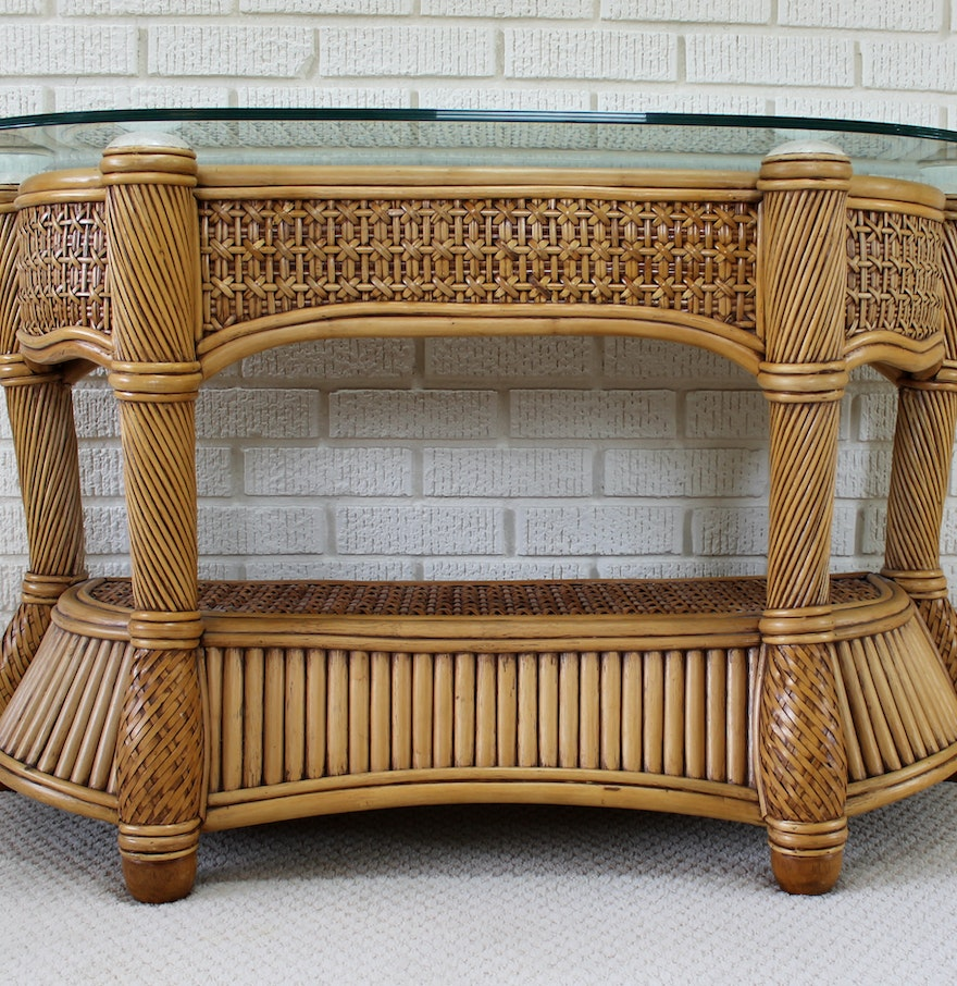 Wicker and rattan patio console sofa table by capri for Cane and wicker world