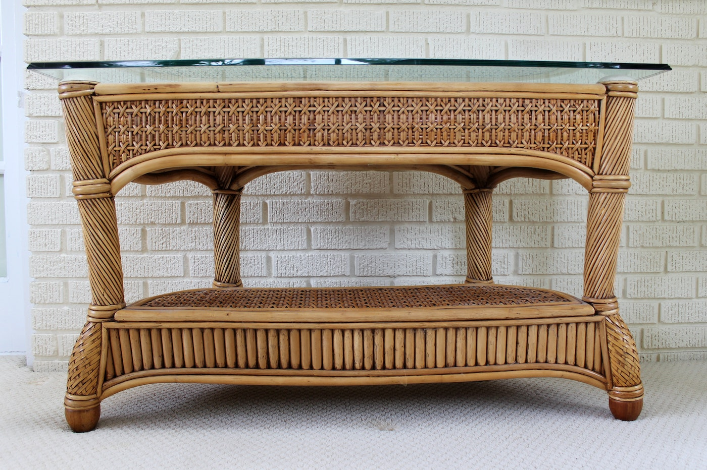 Wicker And Rattan Patio Console Sofa Table By Capri Furniture Ebth