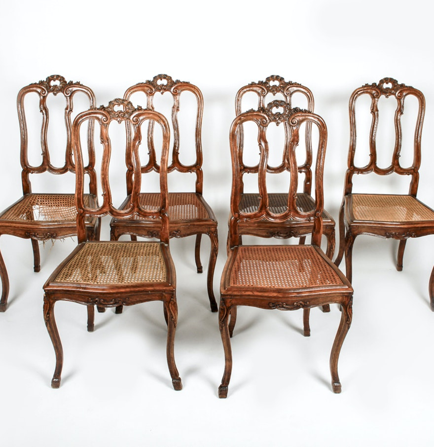 Louis xv dining chair - Set Of Six French Louis Xv Style Cane Seat Dining Chairs