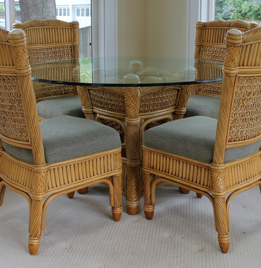 Wicker And Rattan Patio Dining Table And Chairs Capri Furniture Ebth