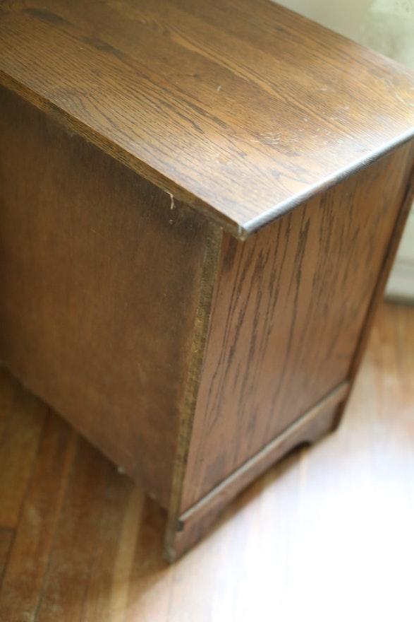 Vintage Oak White Clad Ice Box Chest Ebth