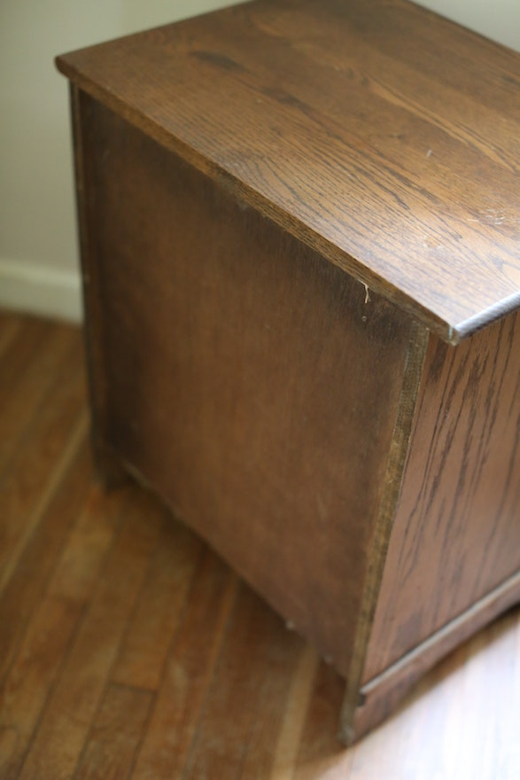 Vintage Oak White Clad Ice Box Chest Ebth