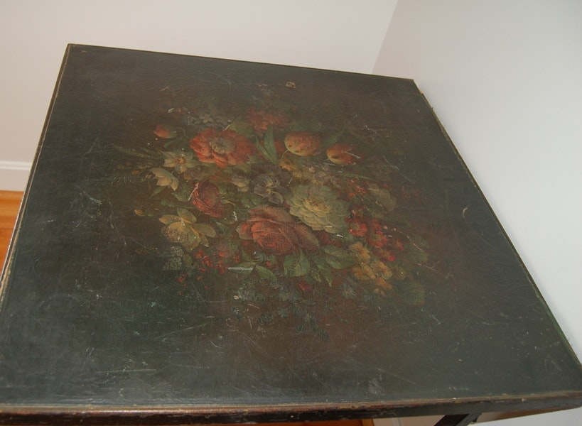 Vintage card table with leather painted top ebth for Table 52 cards 2014