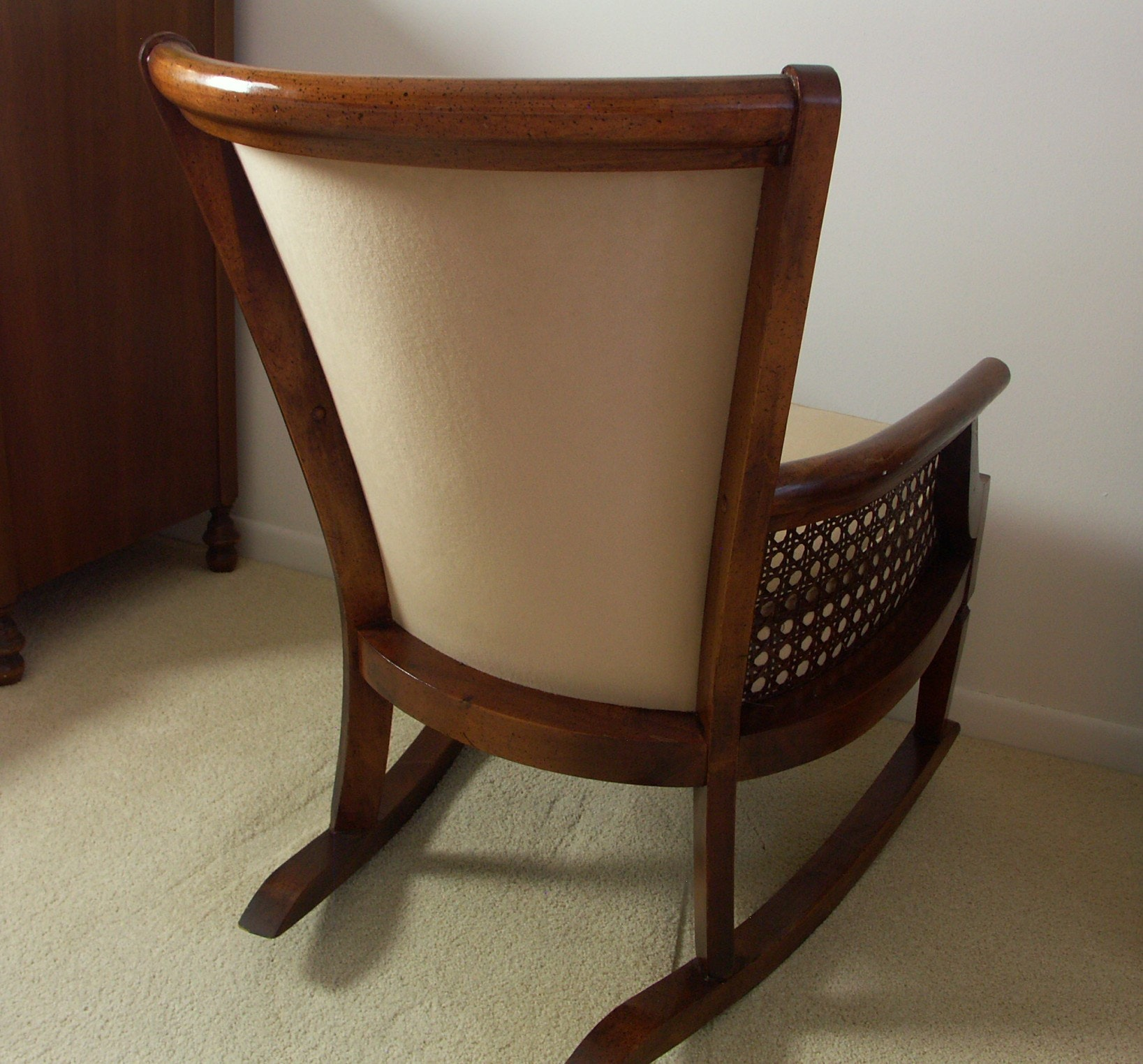 Vintage Upholstered And Rattan Rocking Chair Ebth