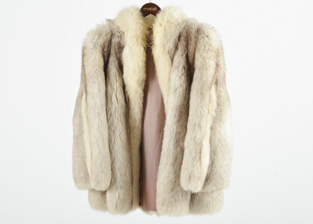 Vintage Blue Fox And White Fox Fur Mid Length Coat