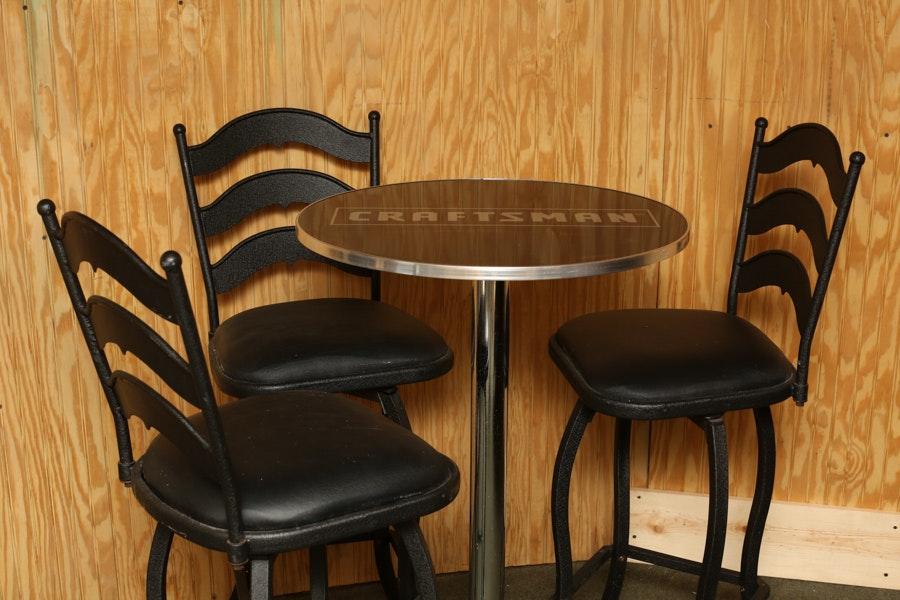 Craftsman Bar Table And Stools Ebth