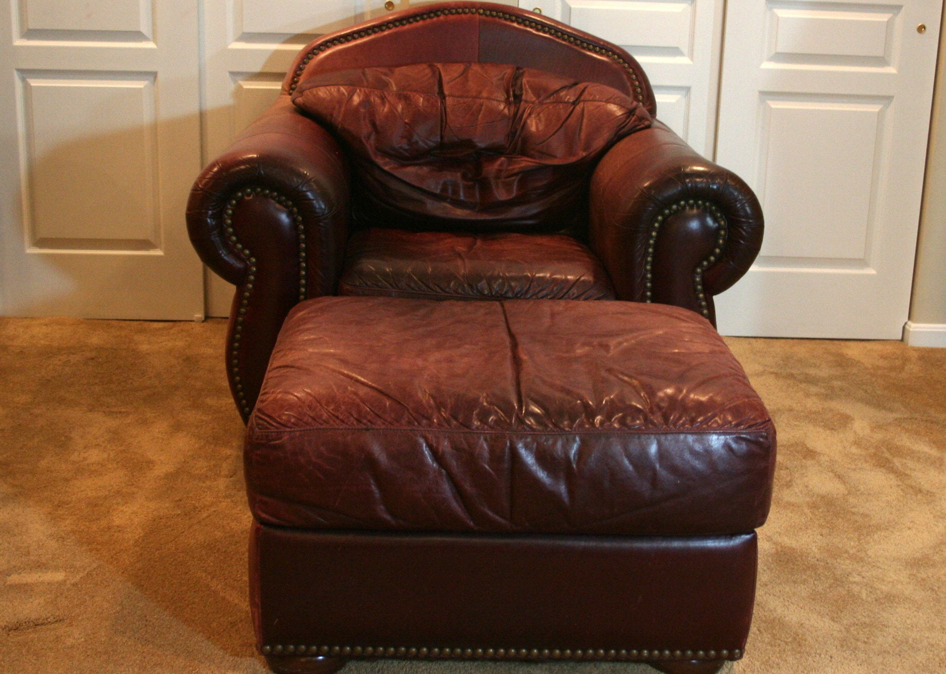 Leather Overstuffed Chair And Ottoman ...
