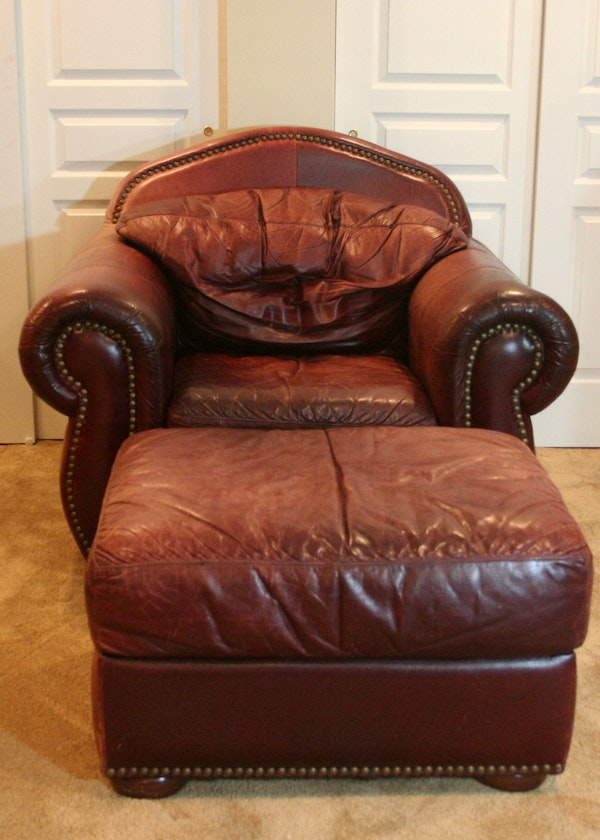 Leather Overstuffed Chair And Ottoman Ebth