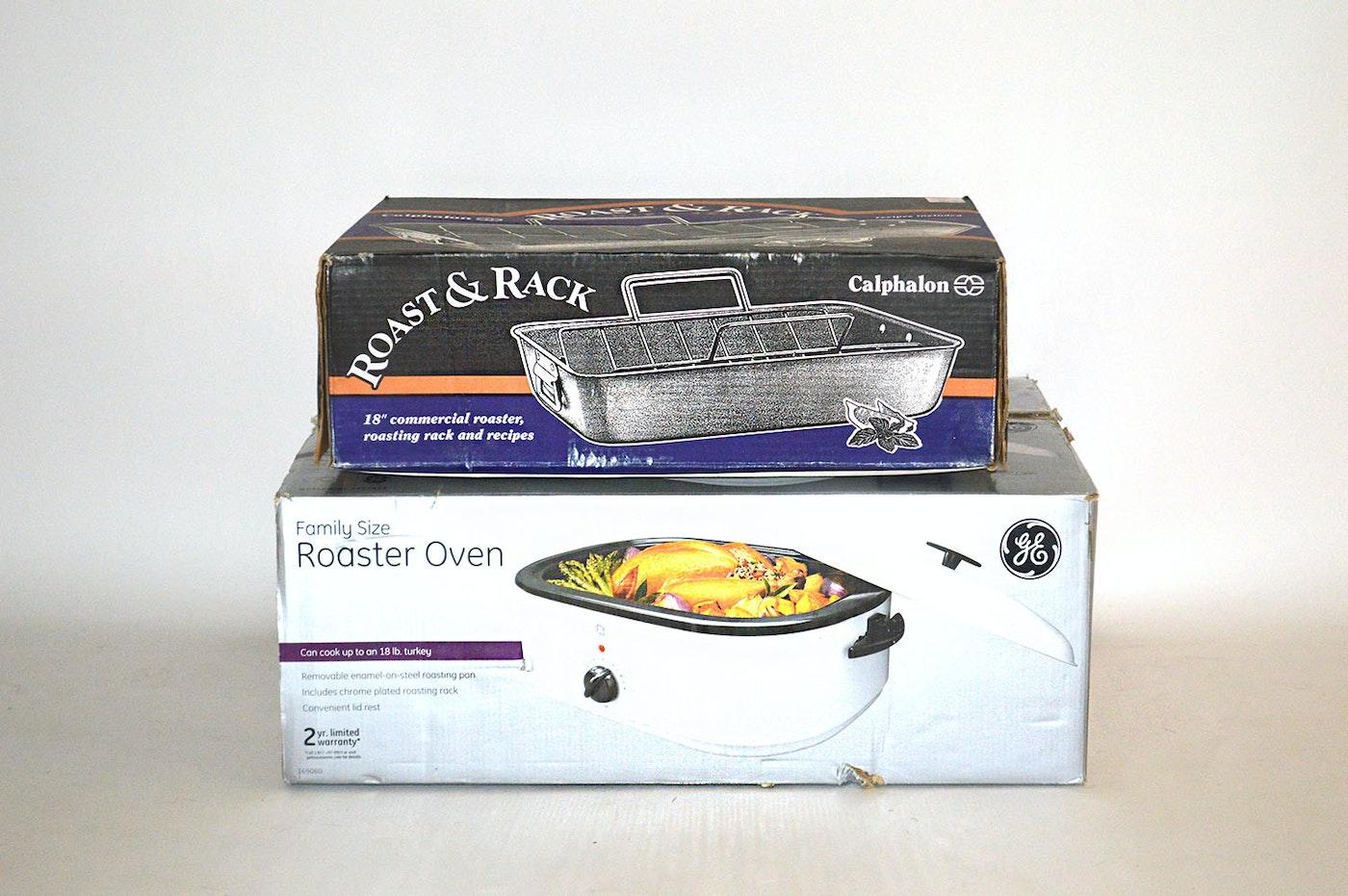 Calphalon Roast Amp Rack And Ge Family Size Roaster Oven Ebth