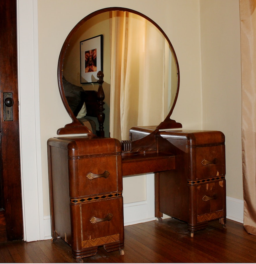 Art Deco Vintage 1930's Vanity and Round Mirror ... - Art Deco Vintage 1930's Vanity And Round Mirror : EBTH