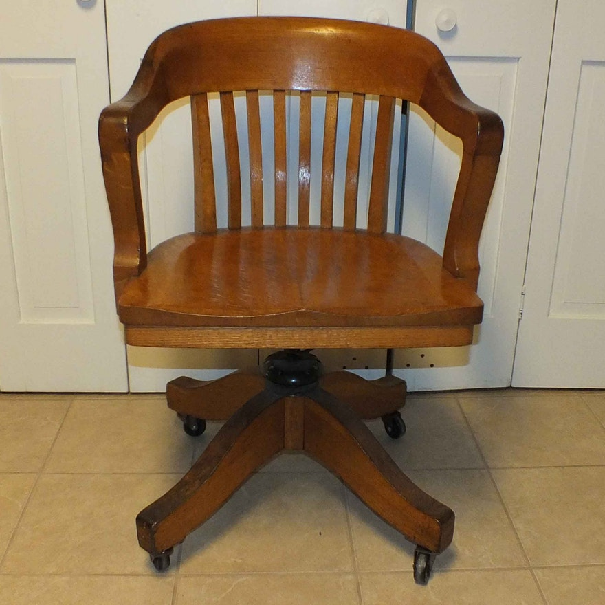 colonial chair company solid oak desk chair ebth