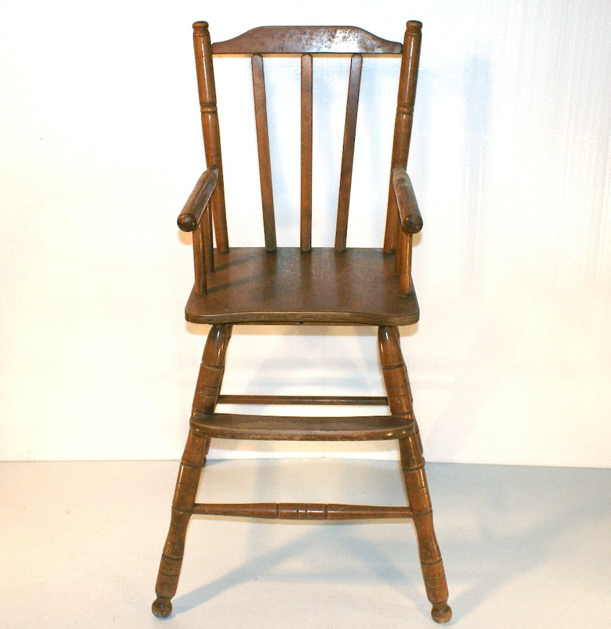 Vintage wooden high chair - Vintage Oak Hill High Chair
