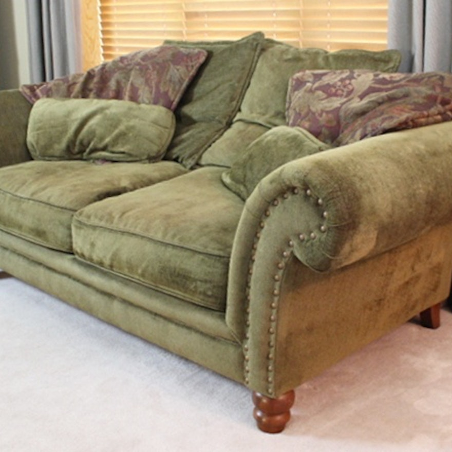 Bernhardt New Vintage Green Sofa W Burgundy Decorator Pillows