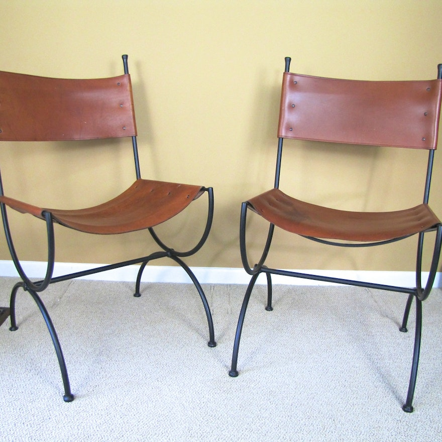 Pleasant Pair Of Charleston Forge Bridle Leather Embassy Side Chairs Caraccident5 Cool Chair Designs And Ideas Caraccident5Info