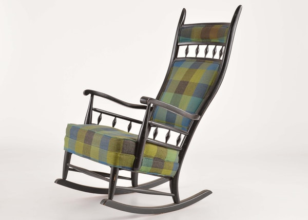 Black Lacquer And Plaid Upholstered Rocking Chair Ebth
