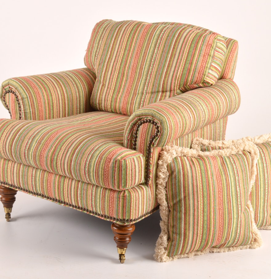 Arm chair with matching throw pillows ebth for Matching arm chairs