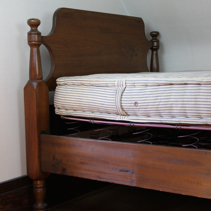 Antique Colonial Style Wood Twin Bed