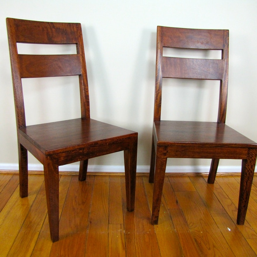 Pair Of Crate And Barrel Basque Honey Side Chairs Ebth